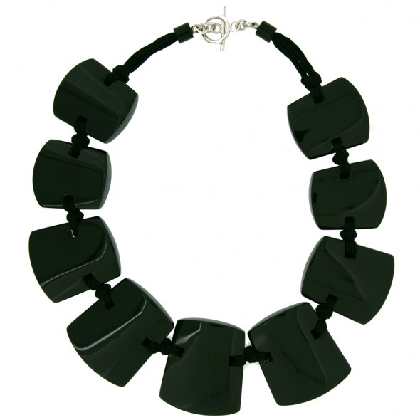 ISIS 9 BEAD NECKLACE. BLACK