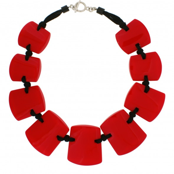 ISIS 9 BEAD NECKLACE.  RED