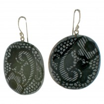LACE HOOK EARRING. PEWTER