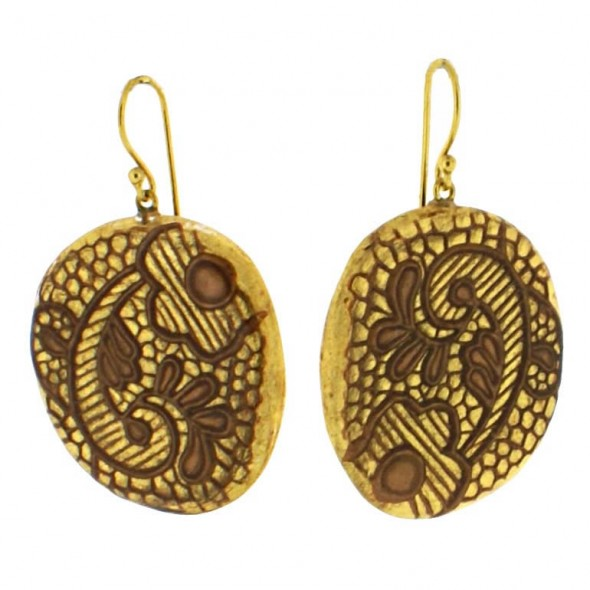 LACE HOOK EARRING. 24 KT GOLD LEAF