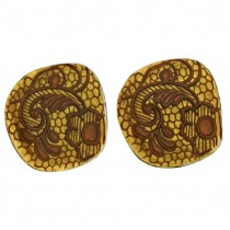 LACE CLIP EARRING. 24 KT GOLD LEAF
