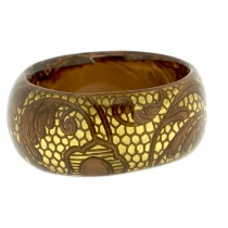 LACE DESIGN BANGLE. 24 KT GOLD & BRONZE