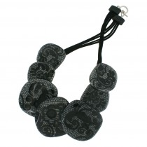 PEWTER 7 BEAD LACE NECKLACE.