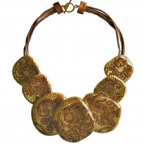 LACE 7 BEAD NECKLACE. 24 KT GOLD LEAF