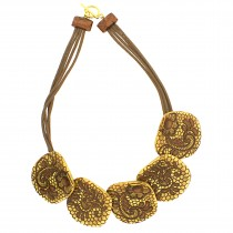 LACE 5 MEDIUM BEAD NECKLACE. 24 KT GOLD LEAF