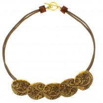 LACE  5 SMALL BEAD NECKLACE. 24 KT GOLD LEAF