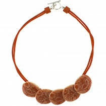 LACE 5 SMALL BEAD NECKLACE. ORANGE
