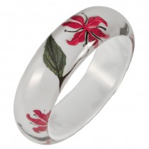 LILLY BANGLE. RED INLAID ON WHITE
