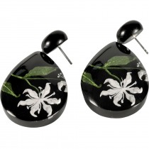 LILLY DROP EARRING. WHITE INLAID IN BLACK