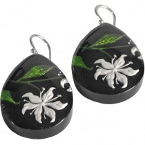 LILLY EARRINGS. WHITE INLAID IN BLACK