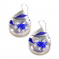 LILLY EARRINGS. BLUE INLAID OVER SILVER