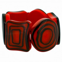 ELEMENTS 6 MULTI SHAPE BEAD BRACELET. RED