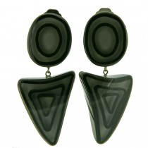 ELEMENTS ROUND / TRIANGLE EARRING.  GREY