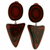 ELEMENTS ROUND / TRIANGLE EARRING.  RED