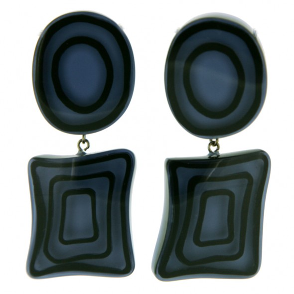 ELEMENTS ROUND / SQUARE BEAD EARRING.  BLUE