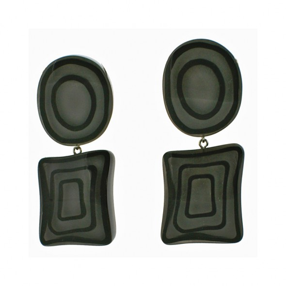 ELEMENTS ROUND / SQUARE DROP EARRING.  GREY
