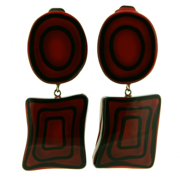 ELEMENTS ROUND/TRIANGLE EARRING.  RED