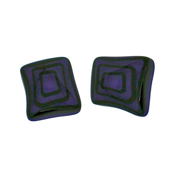 ELEMENTS SQUARE EARRING.  PURPLE