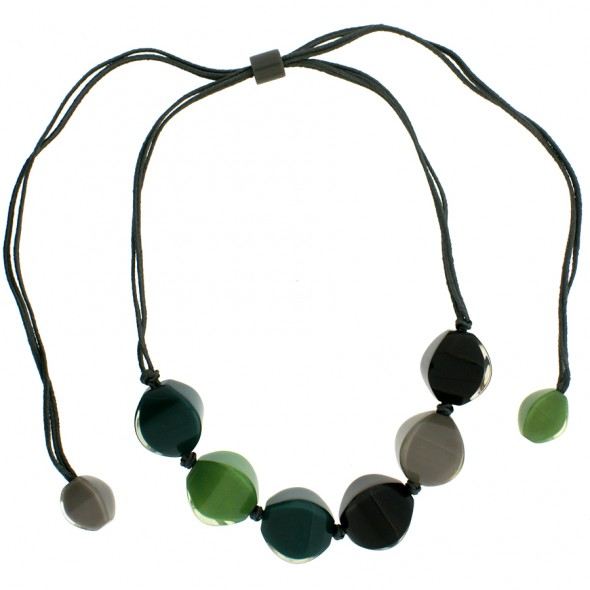 ARABESQUE ADJUSTABLE NECKLACE. GREEN/GREY