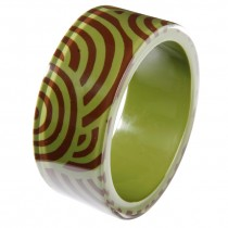 ROUNDABOUT WIDE BANGLE. BROWN/GREEN