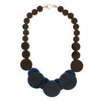ROUNDABOUT NECKLACE. TURQUOISE & BROWN