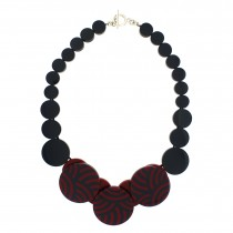 ROUNDABOUT NECKLACE. RASBERRY RED & NAVY