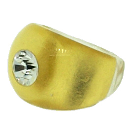 SWAROVSKI CRYSTAL AND 24kt GOLD LEAF INLAY DOMED RING
