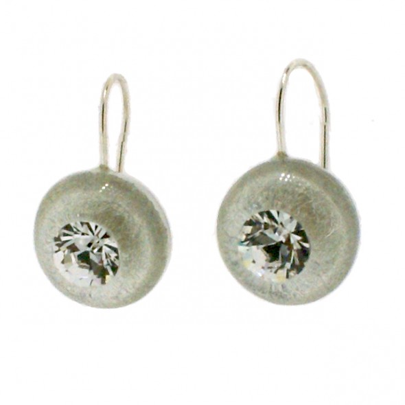 SWAROVSKI CRYSTAL AND SILVER INLAY EARRING