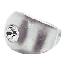 SWAROVSKI CRYSTAL SOLITAIRE WITH SILVER INLAY DOMED RING