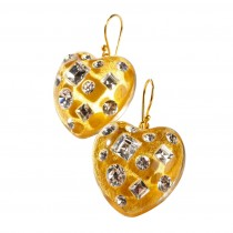 TUTTI FRUTTI GOLD HEART EARRING W/ CRYSTALS ON HOOK.