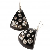TUTTI FRUTTI TRIANGULAR BLACK EARRING W/ CRYSTALS ON HOOK.