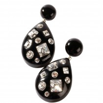 TUTTI FRUTTI LARGE BLACK DROP EARRING W/ CRYSTALS ON POST.