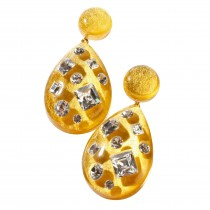 TUTTI FRUTTI LARGE GOLD DROP EARRING W/ CRYSTALS ON POST.