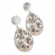 TUTTI FRUTTI LARGE SILVER DROP EARRING W/ CRYSTALS ON POST.