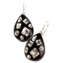 TUTTI FRUTTI SMALL BLACK DROP EARRING W/CRYSTALS ON HOOK.