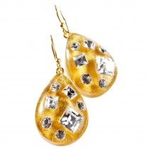 TUTTI FRUTI SINGLE GOLD DROP EARRING W/ CRYSTALS ON HOOK.