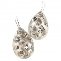 TUTTI FRUTTI SINGLE SILVER DROP EARRING W/ CRYSTALS ON HOOK.