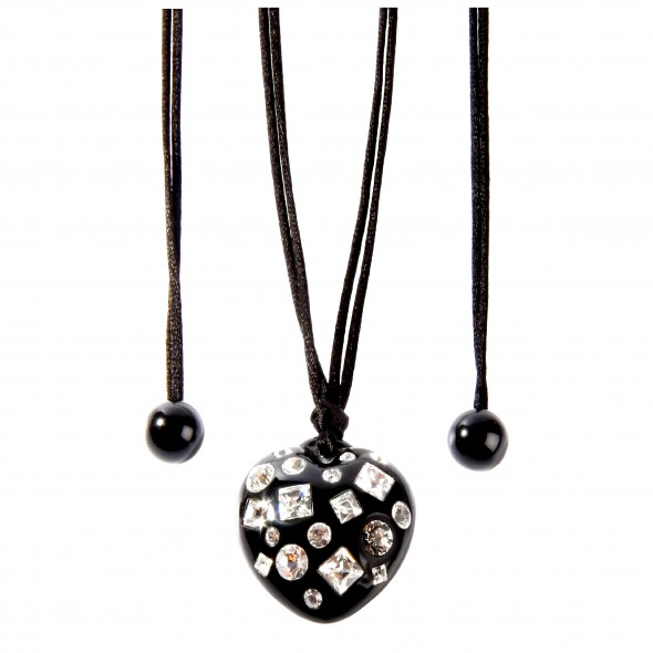 TUTTI FRUTTI LARGE BLACK HEART ADJUSTABLE NECKLACE W/ CRYSTALS.