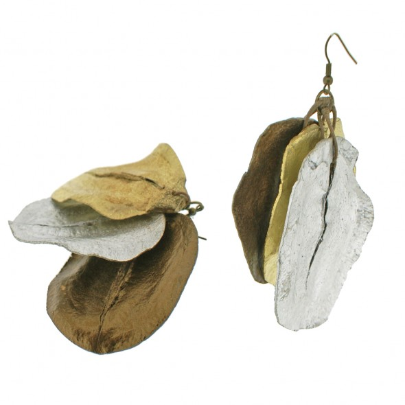 Jacaranda Triple Mod Pod Earring.  Metallic Colors
