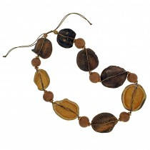 Jacaranda & Walnut Mod Pod Necklace. Natural Colors