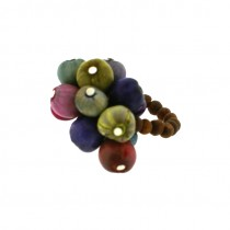 CLUSTER ZULU PEARL STRETCH RING. MULTI COLOR