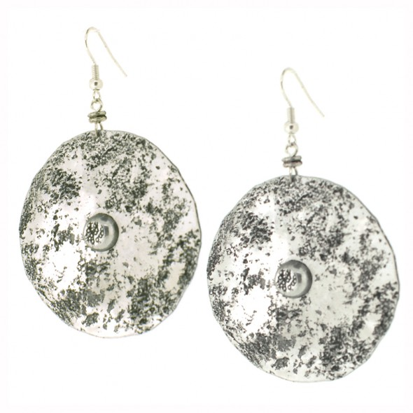 Disk with rivet hook earrings
