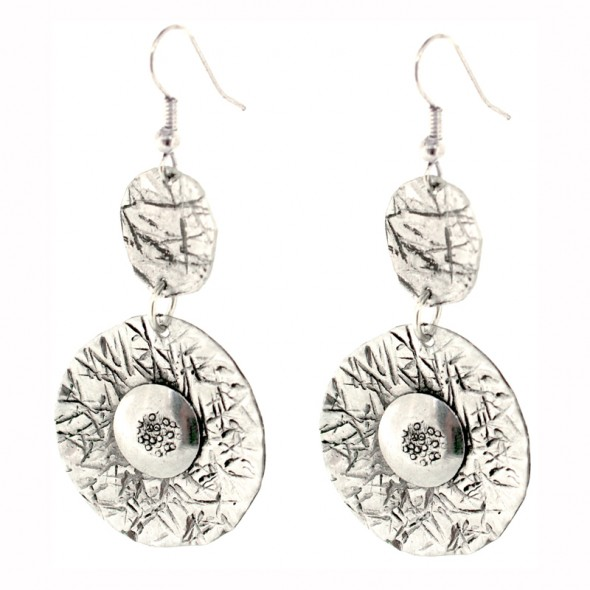 Round drop with rivet earrings