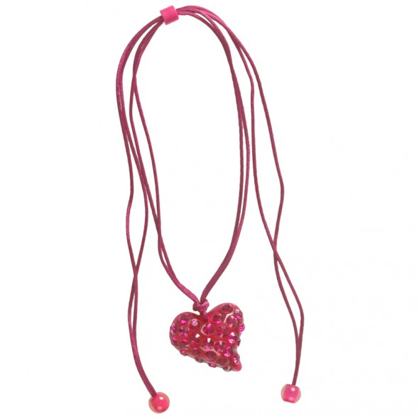 Twisted Heart Pendant.  Fuschsia