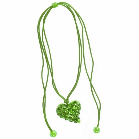 TWISTED HEART PENDANT. GREEN