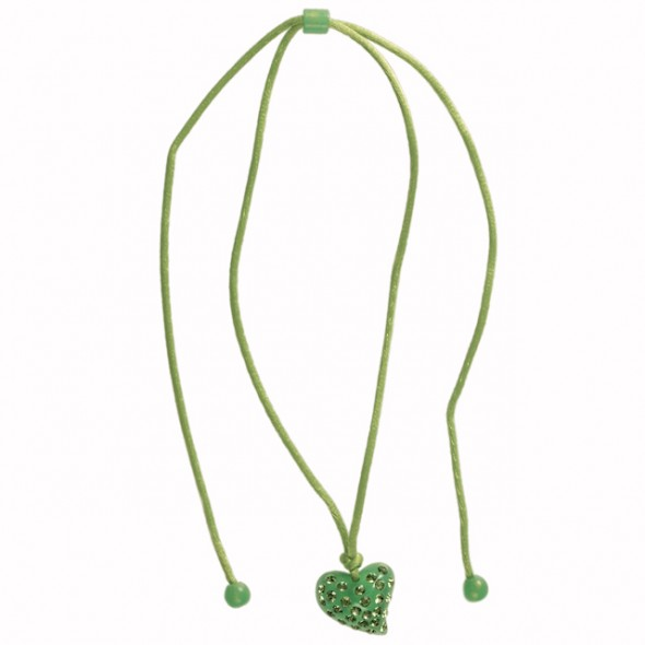 Twisted Heart Pendant. Green (Small)
