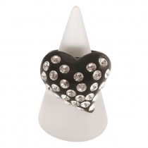 Twisted Heart Ring. Black (Large)
