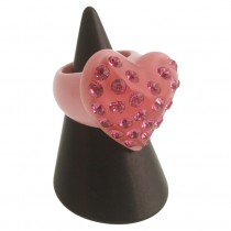 Twisted Heart Ring. Pink (Large)