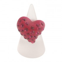 Twisted Heart Ring. Fuchsia (Large)