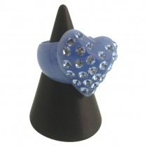 Twisted Heart Ring. Blue (Large)